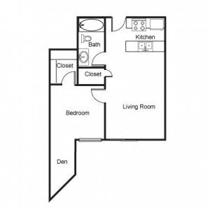 1 Bedroom with Den Floor Plan