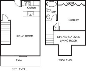 1 Bedroom Loft with Large Living Room and Patio Floor Plan