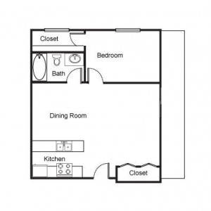 1 Bedroom with Large Dining Living Room Floor Plan