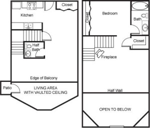 1 Bed and Bath Loft with Fireplace Floor Plan