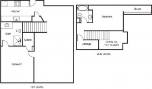 2 Bedroom Loft with Separate Storage Space Floor Plan