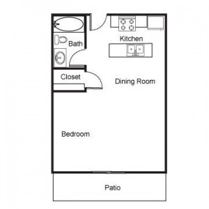Studio Apartment with Patio Floor Plan